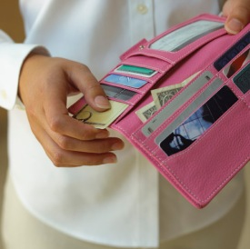 pink wallet with cards photo