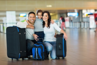 cute family at airport