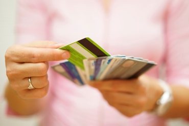 woman choose one credit card, concept of  credit  debt