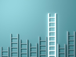 Stand out from the crowd and different creative idea concepts , Longest ladder glowing among other short ladders on light green background with shadows . 3D render